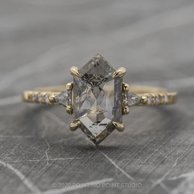 1.72ct Translucent Salt & Pepper Hexagon Diamond Engagement Ring, Eliza Setting, 14K Yellow Gold