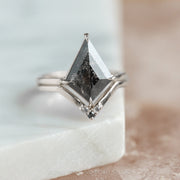 2.81ct Black Speckled Kite Diamond Engagement Ring, Jane Setting, 14k White Gold
