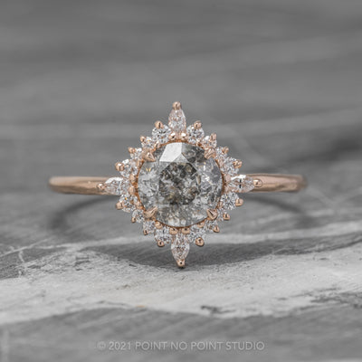 1.12ct Salt & Pepper Diamond Engagement Ring, Cosette Setting, 14K Rose Gold
