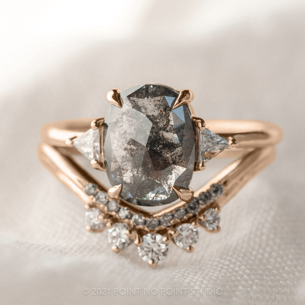 2.27ct Black Speckled Oval Diamond Engagement Ring, Zoe Setting, 14K Rose Gold