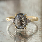2.27ct Black Speckled Oval Diamond Engagement Ring, Zoe Setting, 14K Yellow Gold