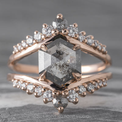 2.11ct Salt & Pepper Hexagon Diamond Engagement Ring, Empress Setting, 14K Rose Gold