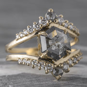 2.19ct Salt & Pepper Hexagon Diamond Engagement Ring, Empress Setting, 14K Yellow Gold