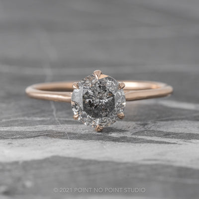 1.70ct Salt & Pepper Round Diamond Engagement Ring, Madeline Setting, 14K Rose Gold