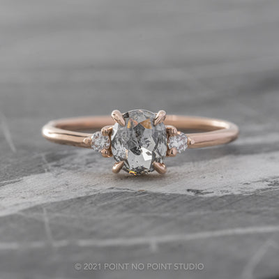 .90ct Translucent Salt & Pepper Oval Diamond Engagement Ring, Zoe Setting, 14K Rose Gold