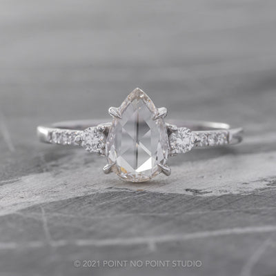 1.11ct Clear Pear Diamond Engagement Ring, Eliza setting, 14K White Gold