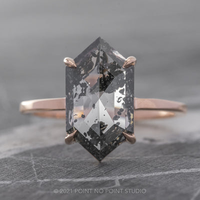 2.73ct Salt & Pepper Hexagon Diamond Engagement Ring, Jane Setting, 14K Rose Gold