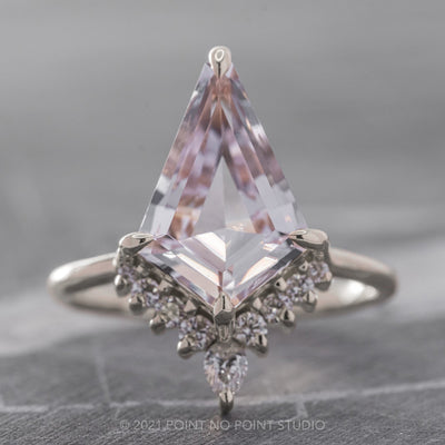 2.65ct Kite Morganite & Diamond Engagement Ring, Ava Setting, 14K White Gold