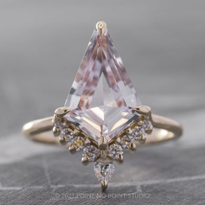 2.65ct Kite Morganite & Diamond Engagement Ring, Ava Setting, 14K Yellow Gold