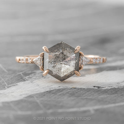 2.3ct Salt & Pepper Hexagon Diamond Engagement Ring, Eliza Setting, 14K Rose Gold