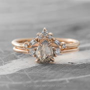 .93ct Translucent Salt & Pepper Pear Diamond Engagement Ring, Zoe Setting, 14K Rose Gold