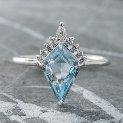 1.61ct Kite Aquamarine & Diamond Engagement Ring, Ava Setting, 14K White Gold