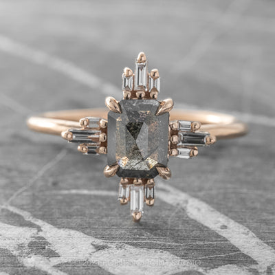 1.15ct Black Speckled Emerald Shaped Diamond Engagement Ring, Sunburst Setting, 14K Rose Gold