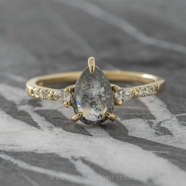 1.21ct Black Speckled Pear Diamond Engagement Ring, Eliza Setting, 14K Yellow Gold