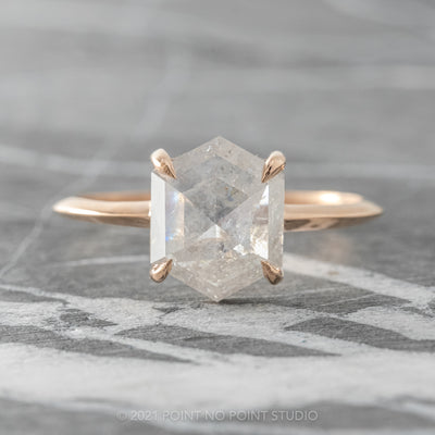 1.92ct Icy White Hexagon Diamond Engagement Ring, Jane Setting, 14K Rose Gold