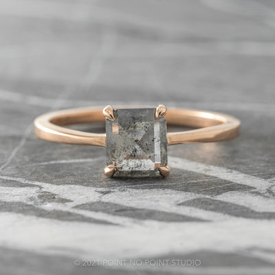 1.06ct Salt & Pepper Asscher Shaped Diamond Engagement Ring, Jane Setting, 14K Rose Gold