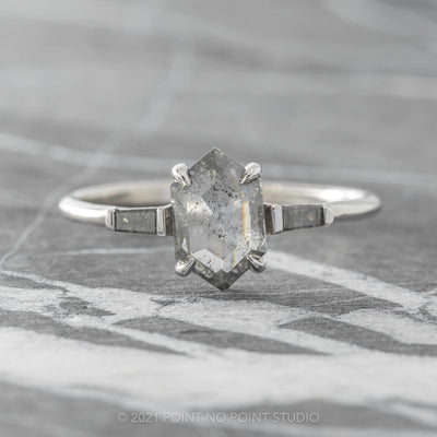 .98ct Translucent Salt & Pepper Hexagon Diamond Engagement Ring, Zoe Setting, 14K White Gold