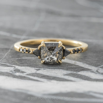 1.55ct Salt & Pepper Asscher Shaped Diamond Engagement Ring, Eliza Setting, 14K Yellow Gold