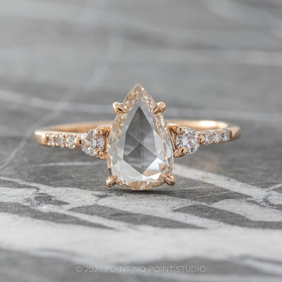 1.08ct Clear Pear Diamond Engagement Ring, Eliza Setting, 14K Rose Gold