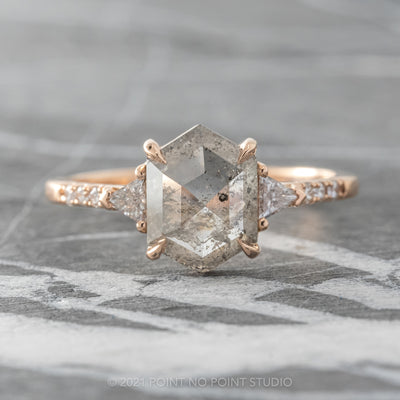 1.59ct Translucent Salt & Pepper Hexagon Diamond Engagement Ring, Eliza Setting, 14K Rose Gold