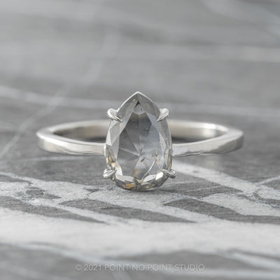 1.25ct Translucent Grey Pear Diamond Engagement Ring, Jane Setting, 14K White Gold