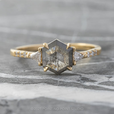 1.35ct Charcoal Grey Speckled Hexagon Diamond, Eliza Setting, 14K Yellow Gold