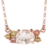 Morganite and Sapphire necklace, recycled 14k rose gold
