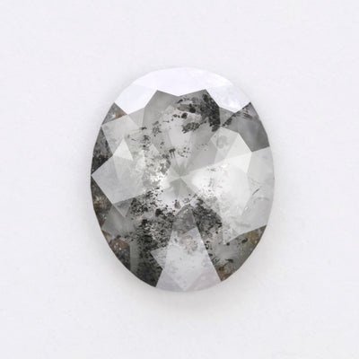 3.04ct Salt & Pepper Oval Rose Cut Diamond