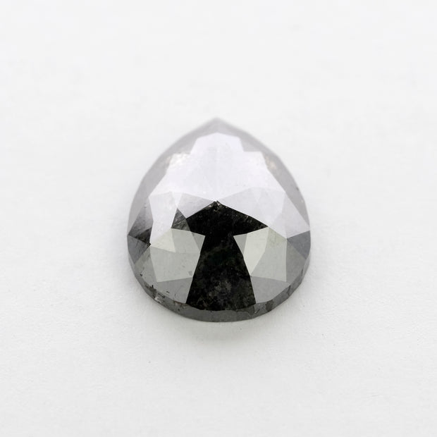 3.36ct Black Speckled Rose Cut Pear Diamond