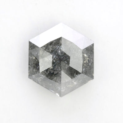 3.72 Carat Salt & Pepper Rose Cut Hexagon Diamond