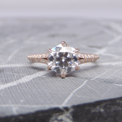 1.38ct Hexagon Moissanite Engagement Ring, Mackenzie Setting, 14K Rose Gold