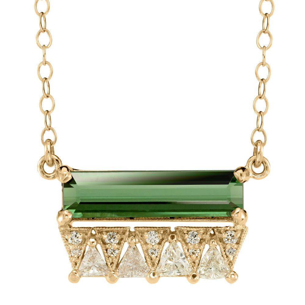 Green Tourmaline and Diamond necklace, recycled 14k yellow gold