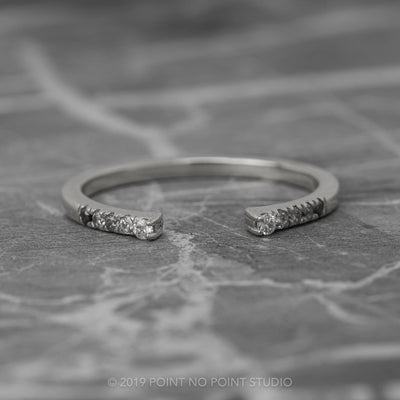 Diamond Wedding Cuff, Ombre Harper Setting, 14K White Gold