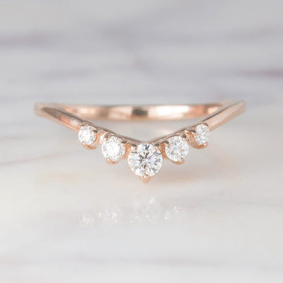 Simple Catherine Diamond Wedding Band, Deep Contour, 14K Rose Gold
