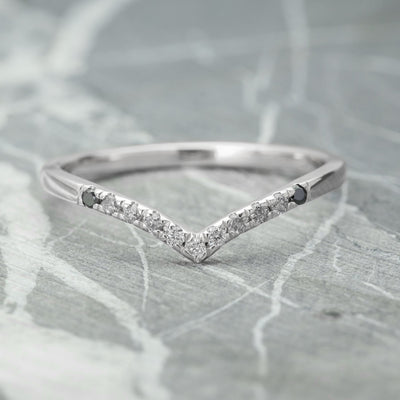 Ombre Diamond Vivian Wedding Band, Shallow Contour, 14k White Gold