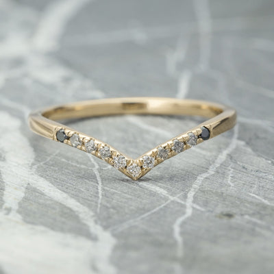 Ombre Diamond Vivian V Band, Shallow Contour,  14k Yellow Gold,
