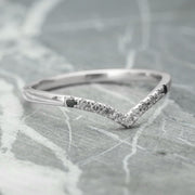 Ombre Diamond V Band, 11 Diamond Vivian Wedding Band, 14k White Gold