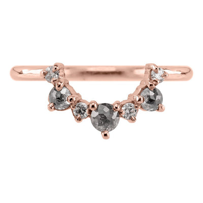 Constellation Diamond Contour Band #2, 14k Rose Gold