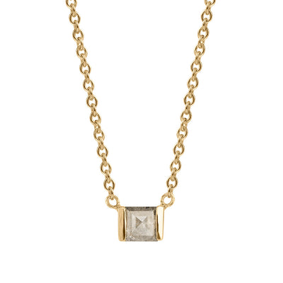 Grey Square Diamond Necklace, Elyse Setting, Recycled 14k Yellow Gold