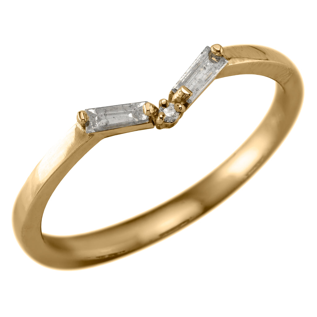 Baguette Diamond V Band, 14k Yellow Gold