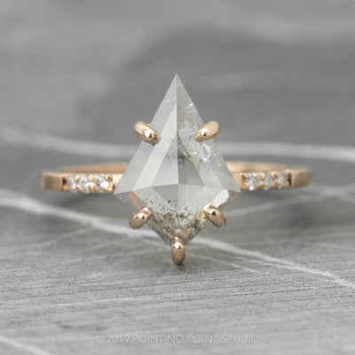 2.11 Carat Kite Diamond Engagement Ring, Jules Setting, 14K Rose Gold