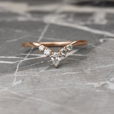 Diamond V Band, Cassiopeia Wedding Band, 14k Rose Gold