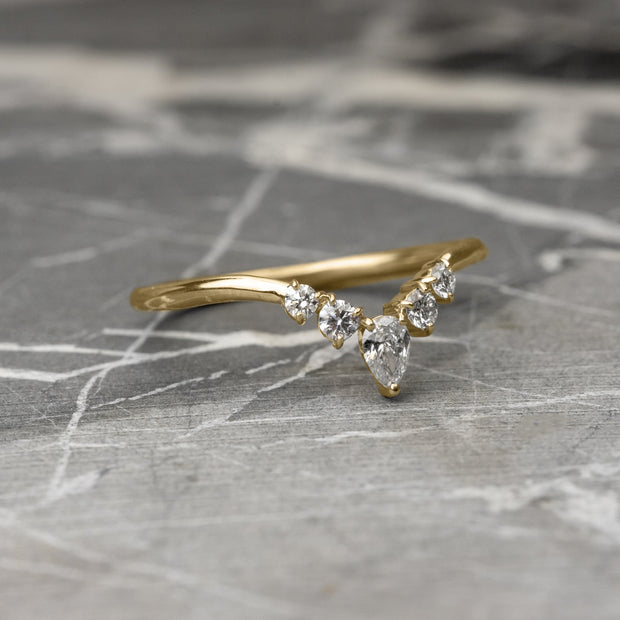 Diamond V Band, Cassiopeia Wedding Band, 14k Yellow Gold