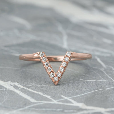 Diamond V Wedding Band, Medium Chevron Band, 14K Rose Gold