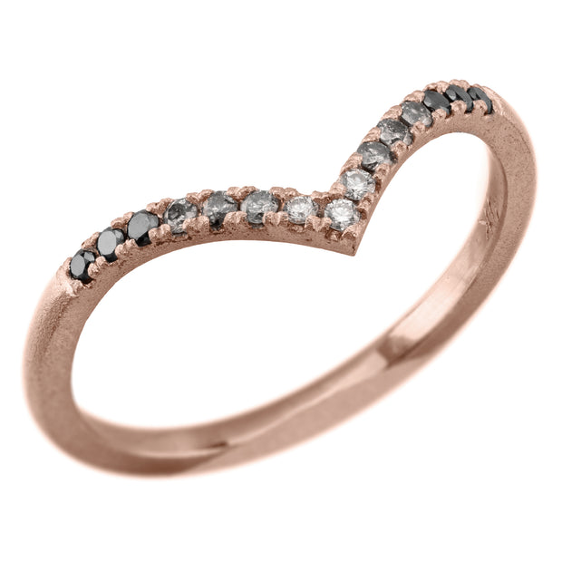 Ombre Diamond V Band, 15 Diamond Vivian Wedding Band, 14k Rose Gold