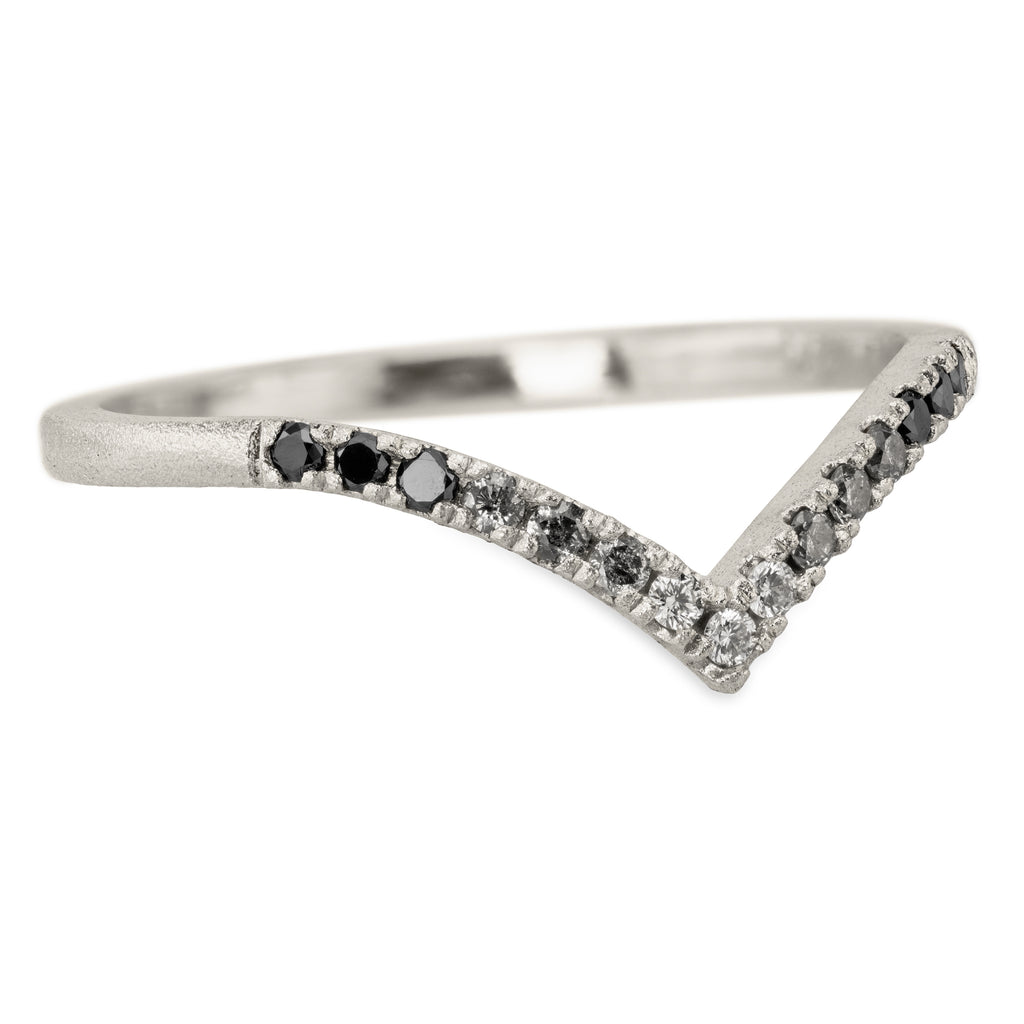 Ombre Diamond Vivian V Band, 14k White Gold