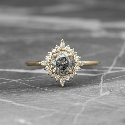 1.11 Carat Salt & Pepper Diamond Engagement Ring, Cosette Setting, 14k Yellow Gold