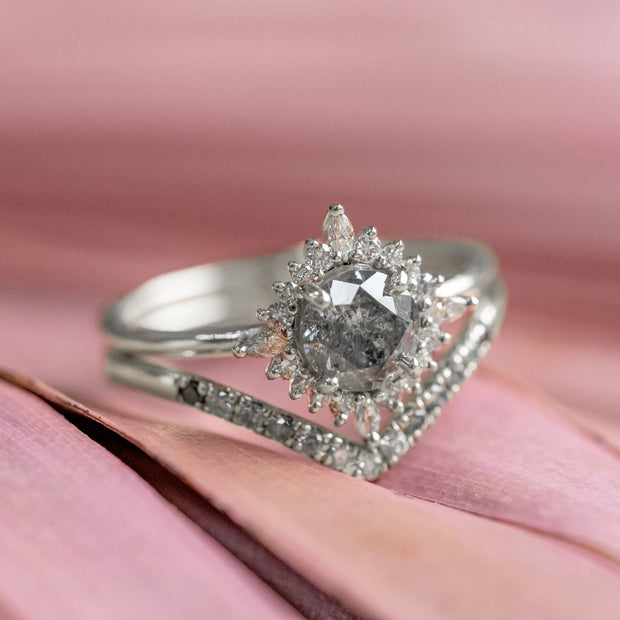 1.11 Carat Salt & Pepper Diamond Engagement Ring, Cosette Setting, 14k White Gold