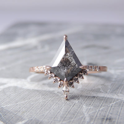 1.96ct Black Speckled Kite Diamond Engagement Ring, Ava setting, 14k Rose Gold