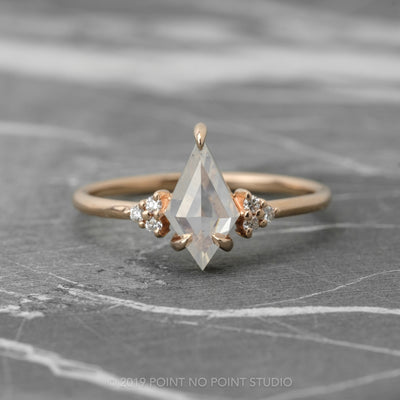 .94 Carat Kite Diamond Engagement Ring, Petite Quinn Setting, 14K Rose Gold